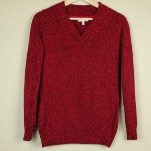 Fashion Bug Red Black Marble Knit Sweater